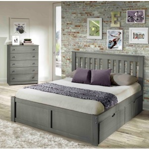 York Grey Full Platform Bed