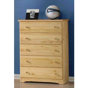 Natural Ponderosa Five Drawer Chest