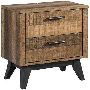 Urban Rustic Nightstand with 2 Drawers