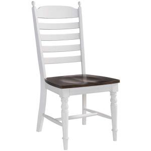 Farmhouse Side Chair Ladder Back w/Wood Seat