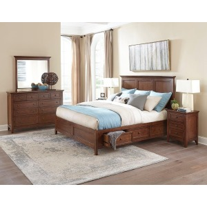 San Mateo 4 PC Queen Storage Bedroom Set - Tuscan