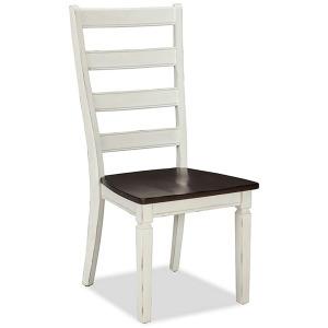 Glennwood White & Charcoal Ladder Back Chair/ 2 PAK