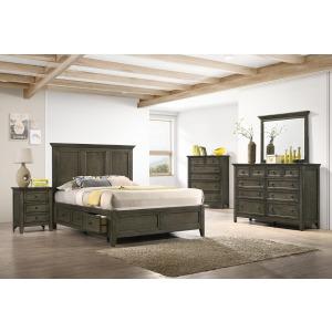San Mateo 4 BC Queen Storage Bedroom Set - Gray