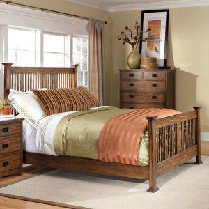 Oak Park King Slat Bed - Mission