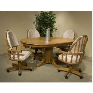 Classic Oak Dining Set w/ 48x70 Solid Oak Butterfly Leaf Table & Swivel Chairs