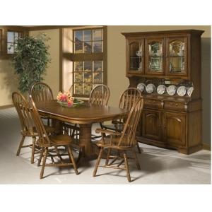 Classic Oak Burnished Rustic Dining Room Detail Arrow Arm Chair