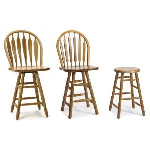 Classic Oak Chestnut Dining Room 24 Plain Arrow Barstool (swivel)