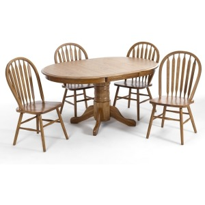 Classic Oak Chestnut Dining Room 48 x 48-70 Solid Oak Ped Base and 48 x 48-70 Solid Oak Bfly Top