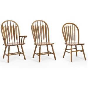 Classic Oak Chestnut Dining Room Plain Arrow Back Side dining chair