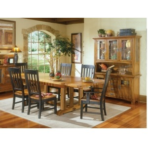 Rustic Mission Dining Room Furniture 44 x 72-108 Trestle Base and 44 x 72-108 Trestle Top