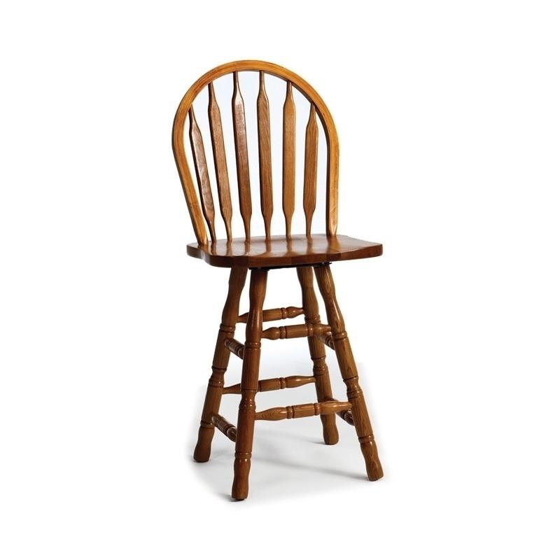 Classic Oak Burnished Rustic Dining Room 24 Slat Back Barstool w/Swivel