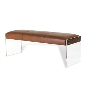 Aiden Leather Bench - Taupe