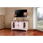"Pueblo White 60"" TV Stand w/4 Doors & Shelves"