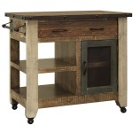 1 Drawer, 1 Mesh Door Kitchen Island - Antique finish