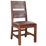 Antique Multicolor Chair with Faux Leather Seat