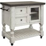 Kitchen Island 2 Drawer, 1 Glass Door - Stone finish