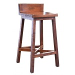 """30"""" Stool - with wooden seat & base - Brown finish"""