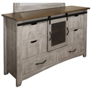 Pueblo Gray 6 Drawer 1 Door Dresser