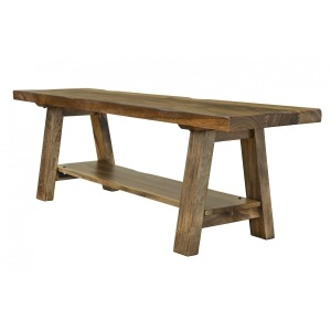 Parota Solid Wood Bench with Shelf