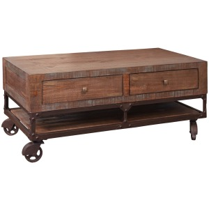 Lift Top Cocktail Table w/2 Drawers & Wheels
