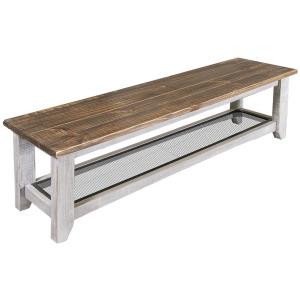 Pueblo Gray Solid Wood Bench w/Iron Shelf