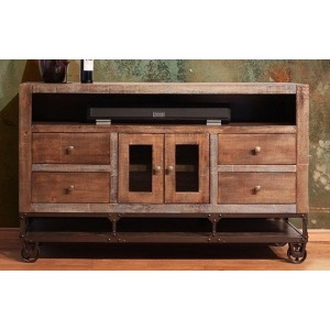 "Urban Gold 62"" TV Stand w/2 Glass doors, 4 Drawers"