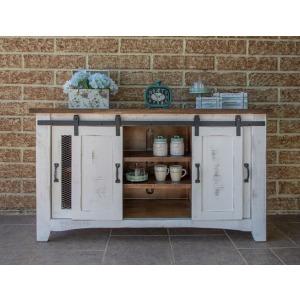 """Pueblo White 60"""" TV Stand w/4 Doors & Shelves"""