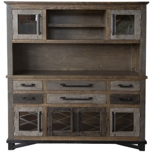 Loft Brown Buffet & Hutch w/6 Drawers & 6 Doors