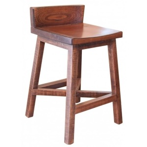 "Pueblo 24"" Stool with Wooden Seat & Base"