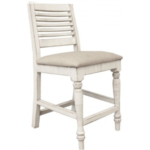 "Stone 24"" Barstool w/ Turned Legs & Fabric Seat"
