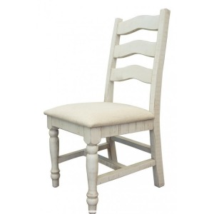 Solid Wood Chair w/fabric seat Ivory Finish