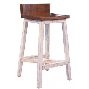 "Pueblo White 30"" Stool - with wooden Seat & Base- White finish"