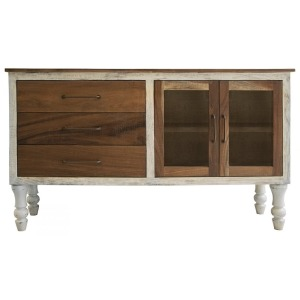Rock Valley 3 Drawer & 2 Doors (Brown) Console w/ Turned Legs