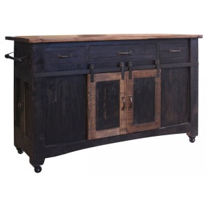 3 Drawer Kitchen Island w/2 sliding doors, 2 Mesh doors on each side - functional casters - Black &