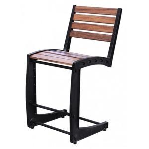 """Parota 30"""" Iron Barstool w/Wooden Seat & Back"""