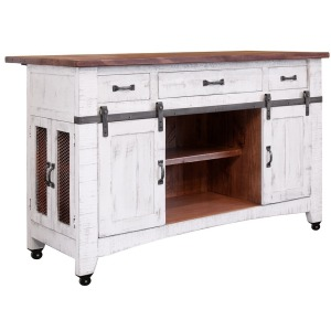 Pueblo White 3 Drawer Kitchen Island