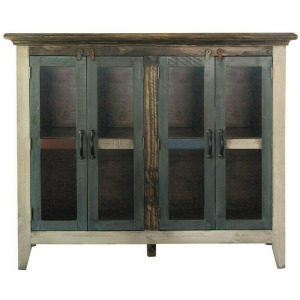 "Antique 50"" Console w/4 Glass Doors"