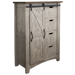 Pueblo Gray Chest 4 Drawers 1 Door