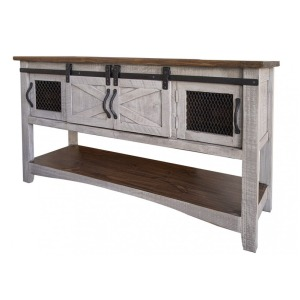Pueblo Gray Sofa Table w/4 Doors