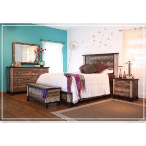 Antique Queen Bed w/ Platform Style Footboard - Piece