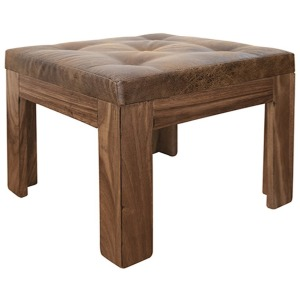 Parota Vanity Solid wood Stool w/ Bonded Leather Seat