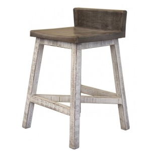 "24"" Stool -with wooden seat & base- Stone finish"