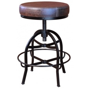 24-30in Adjustable Swivel Stool, with Faux Leather seat, Iron base