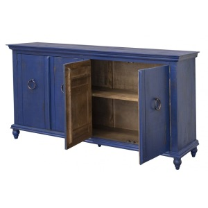 Capri Console w/ 4 Doors, Blue Finish