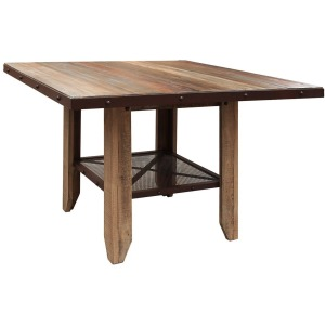 Counter Height Dining Table - Solid Wood w/iron mesh shelf