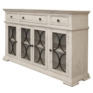 Bonanza Ivory Console w/4 Glass Doors & 3 Drawers