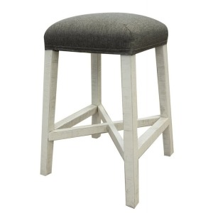 "24"" Stool w/fabric seat & Ivory Finish"