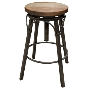 Marquez Adjustable Swivel Stool w/Wooden Seat