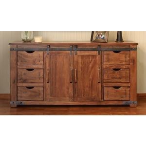 "Parota 70"" TV Stand w/6 Drawer, 2 door w/2 shelves on each side"