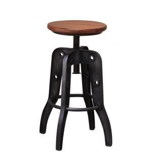 24-30in Adjustable height Swivel Stool, Wooden Seat, Iron base